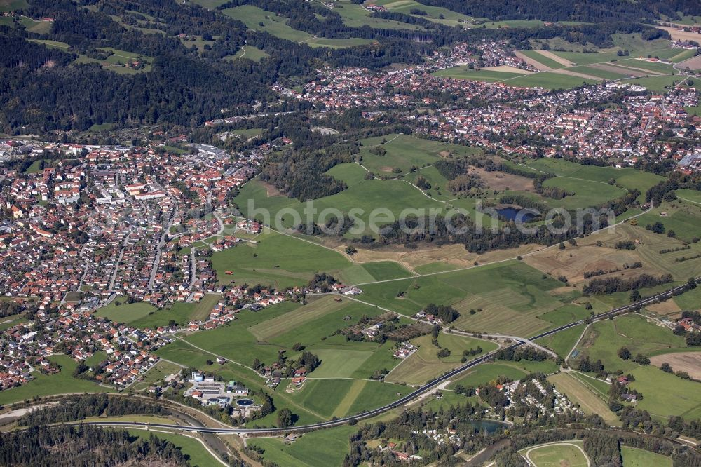 Aerial photograph Peißenberg - City area with outside districts and inner city area in Peissenberg in the state Bavaria, Germany