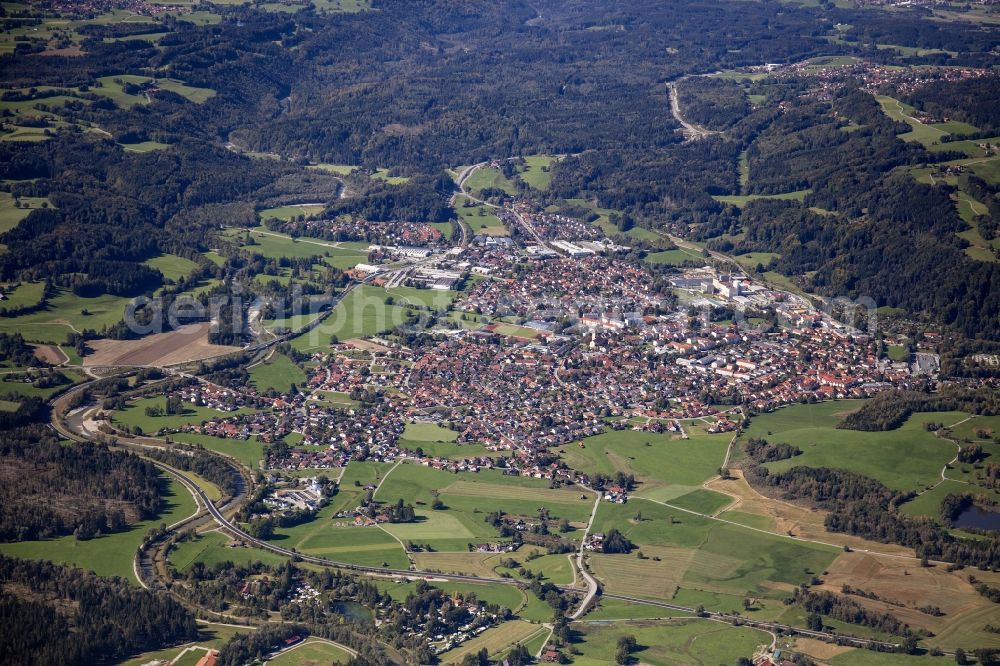 Peißenberg from the bird's eye view: City area with outside districts and inner city area in Peissenberg in the state Bavaria, Germany