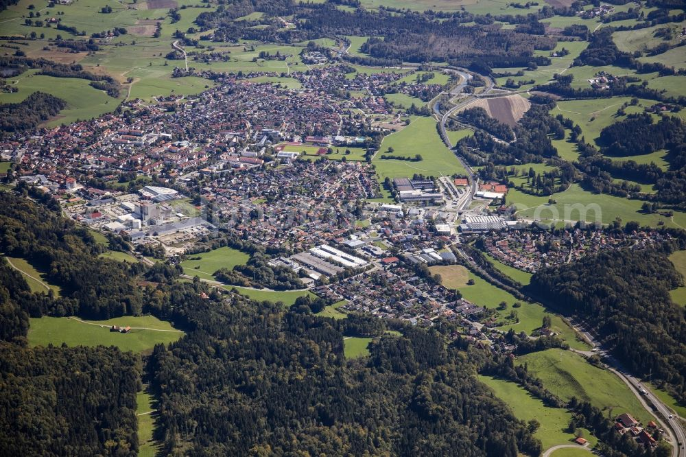 Peißenberg from above - City area with outside districts and inner city area in Peissenberg in the state Bavaria, Germany