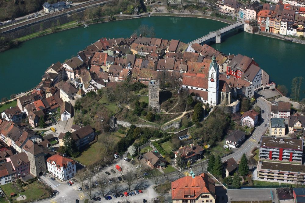 Aerial photograph Laufenburg - City area with outside districts and inner city area in Laufenburg in the canton Aargau, Switzerland and in Germany.