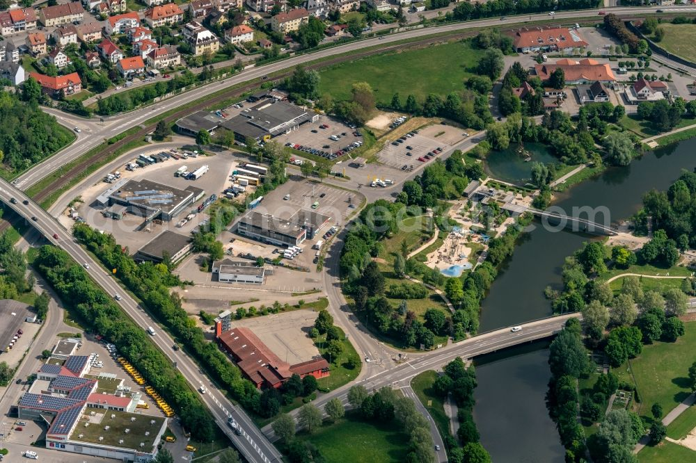 Aerial photograph Sigmaringen - Industrial estate and company settlement in den Burgwiesen in Sigmaringen in the state Baden-Wuerttemberg, Germany
