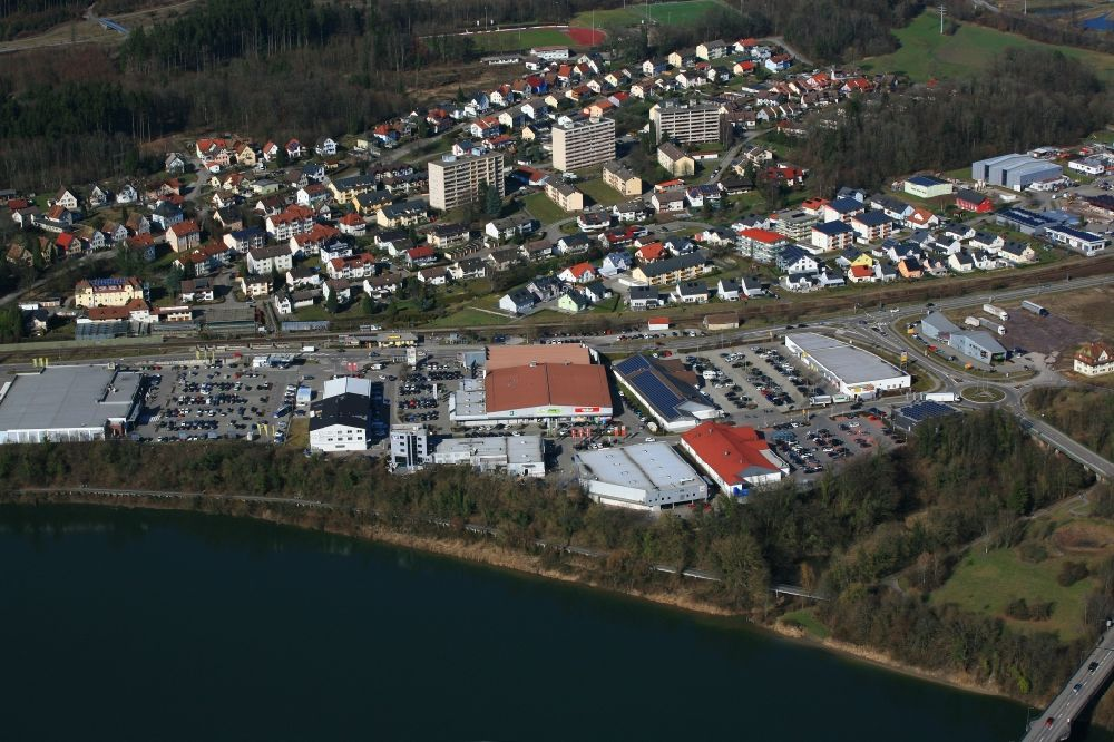 Laufenburg from above - Industrial estate and company settlement at the river Rhine in Laufenburg in the state Baden-Wurttemberg.