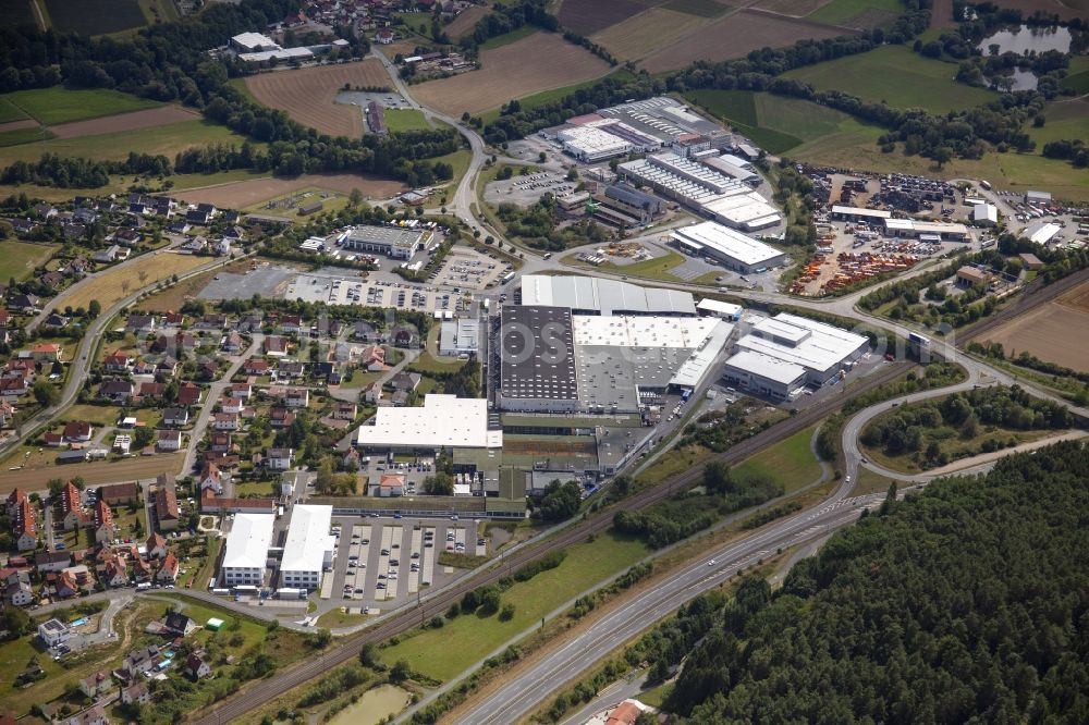 Aerial image Kronach - Commercial area and company settlement with the Dr. Schneider group of companies in the district Neuses in Kronach in the state Bavaria, Germany