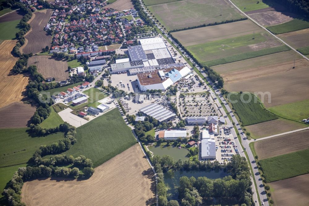 Weixerau from the bird's eye view: Industrial estate and company settlement on Rande of local community Weixerau in the state Bavaria, Germany