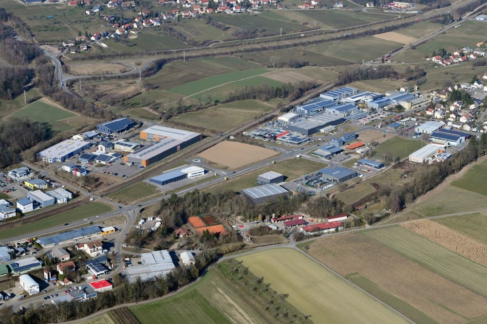 Laufenburg from the bird's eye view: Industrial estate and company settlement East in the district Luttingen in Laufenburg in the state Baden-Wurttemberg, Germany