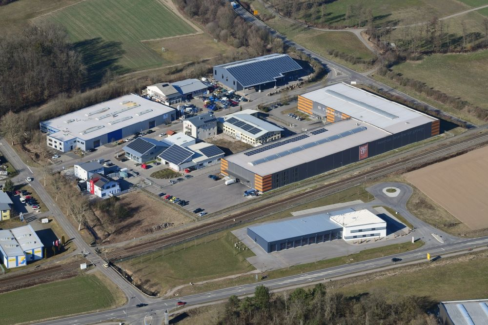 Aerial image Laufenburg - Industrial estate and company settlement East in the district Luttingen in Laufenburg in the state Baden-Wurttemberg, Germany.