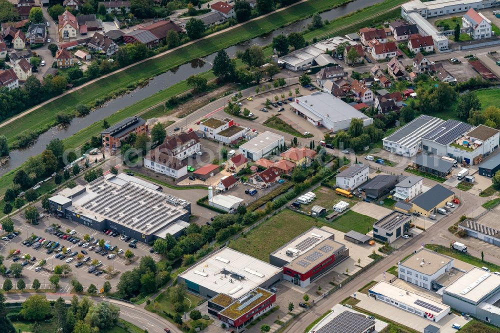 Teningen from the bird's eye view: Industrial estate and company settlement in Teningen in the state Baden-Wuerttemberg, Germany