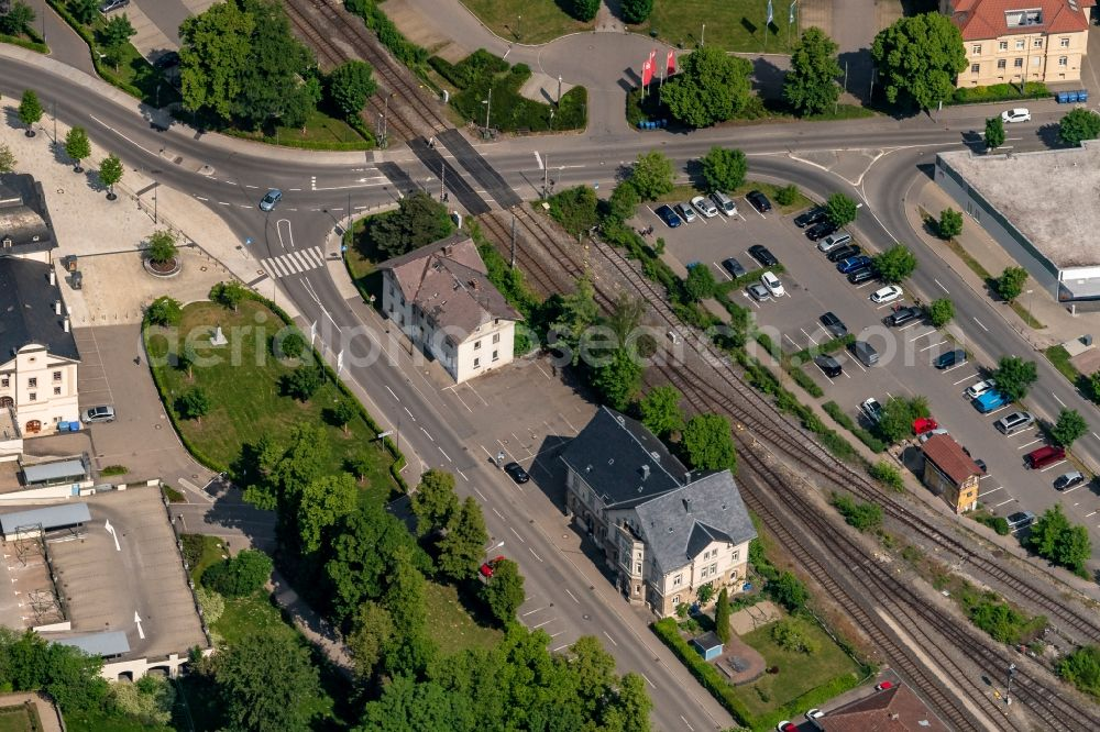 Sigmaringen from the bird's eye view: Tracks of on Bahnhofstrasse at the depot of the operating plant in Sigmaringen in the state Baden-Wuerttemberg, Germany