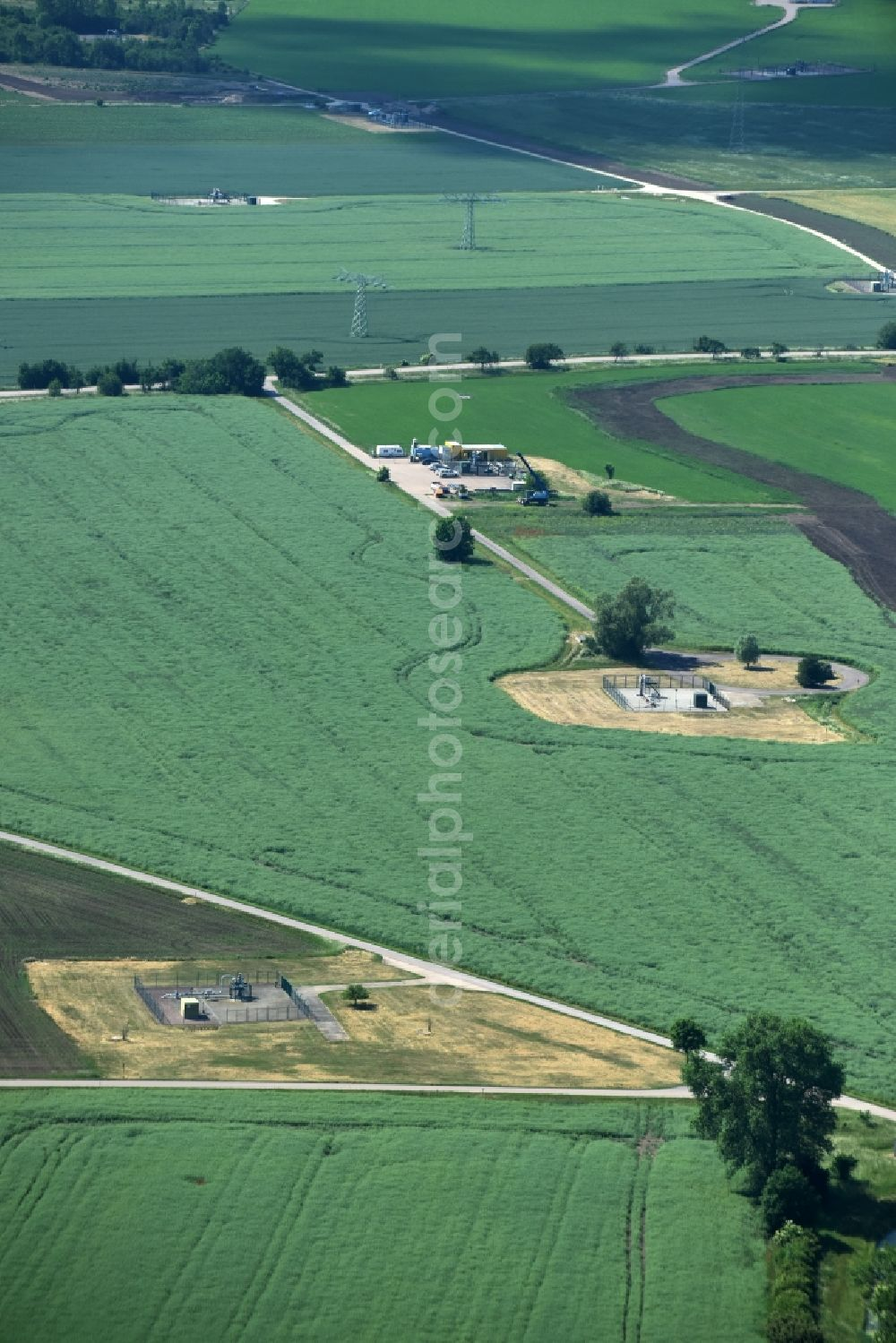 Aerial image Peißen - Structures of a field landscape near Peissen in the state Saxony-Anhalt