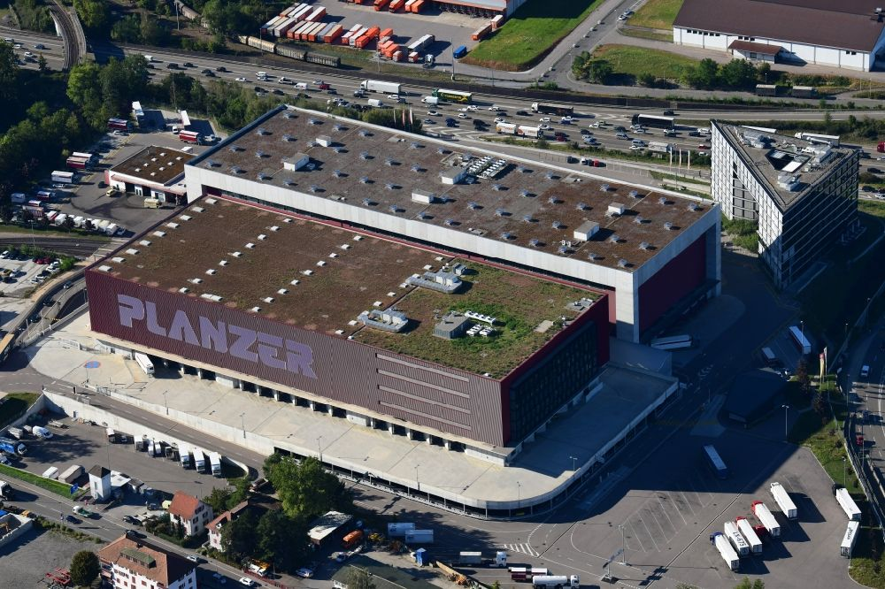 Aerial image Pratteln - Building complex and grounds of the logistics center Planzer Transport AG in Pratteln in the canton Basel-Landschaft, Switzerland.