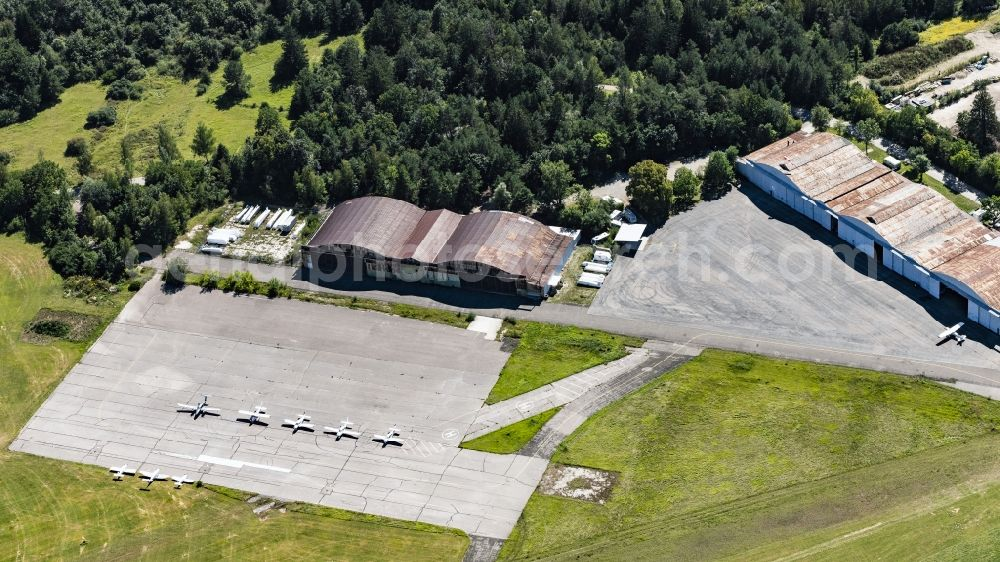 Oberschleißheim from above - Hangar equipment and aircraft hangars for aircraft maintenance in Oberschleissheim in the state Bavaria, Germany