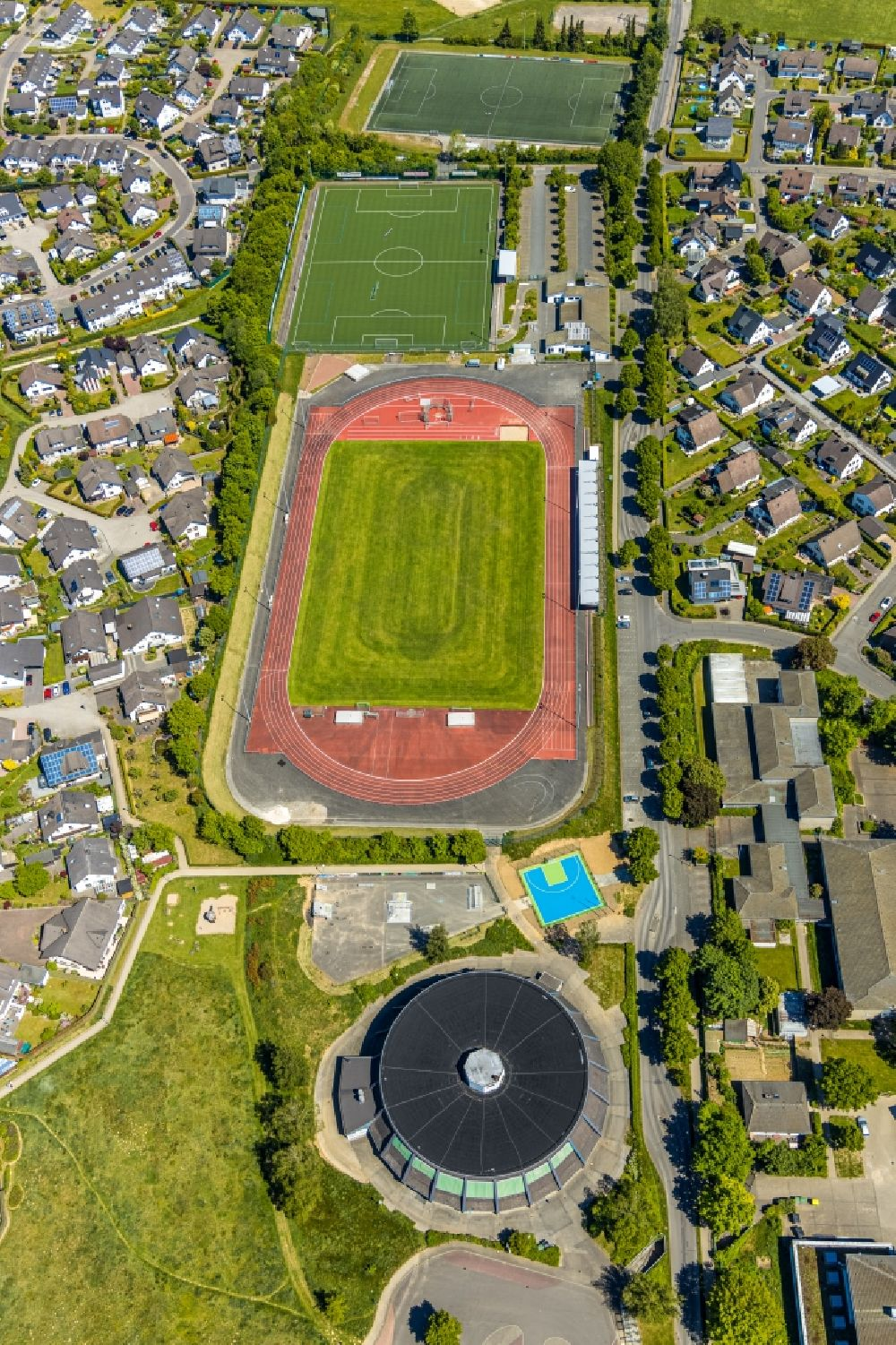 Attendorn from above - Hansa Stadium in Attendorn in the state of North Rhine-Westphalia, Germany