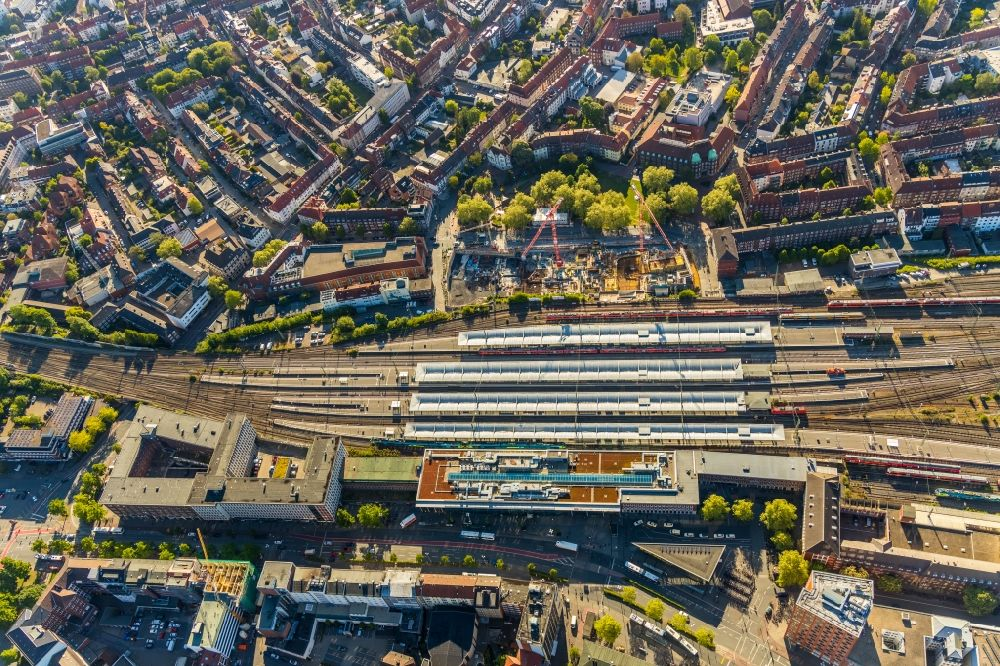 Aerial image Münster - Track progress and building of the main station of the railway in Muenster in the state North Rhine-Westphalia, Germany