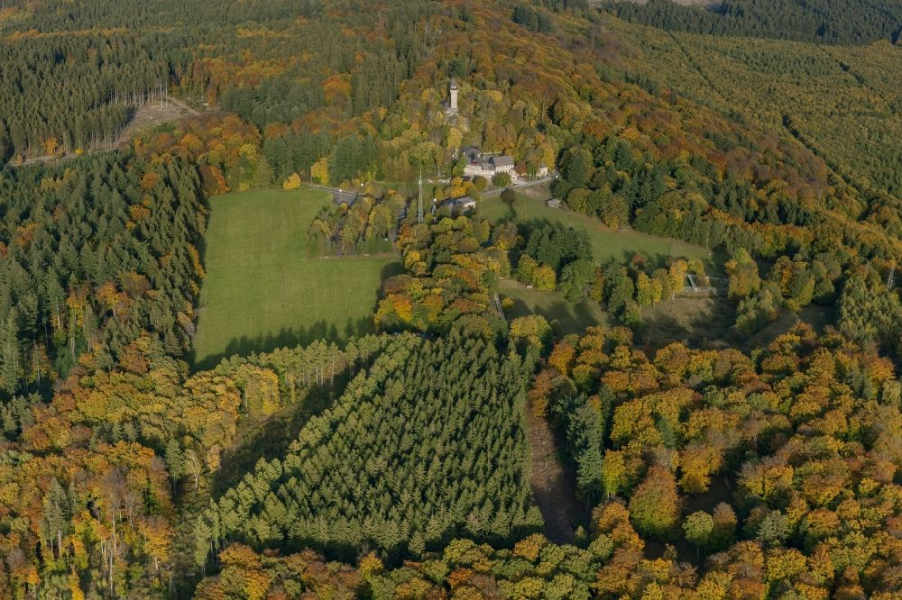 Aerial photograph Kempfeld - Autumn - Landscape at the tower on the ruins of the castle in the wild nature reserve Wildenburg near Kempfeld in Rhineland-Palatinate