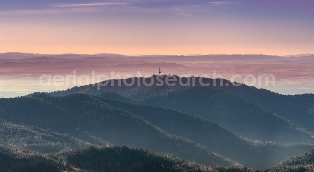 Aerial image Schliengen - Autumnal discolored vegetation view radio Tower and hotel on the crest of the mountain Hochblauen in the Black Forest in Schliengen in the state Baden-Wuerttemberg