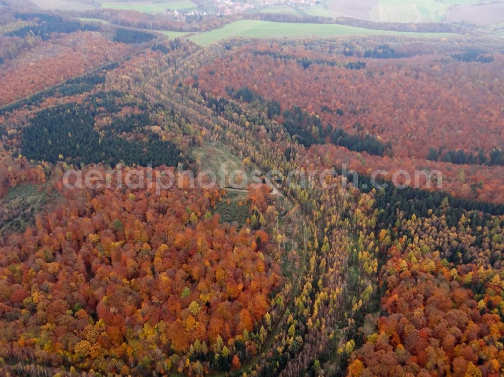Aerial photograph Rustenfelde - Autumnal discolored vegetation view route course of the former inner-German border between the GDR German Democratic Republic and the Federal Republic of Germany Federal Republic of Germany in Rustenfelde in the state Thuringia, Germany.