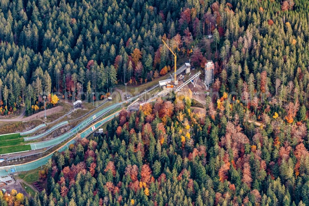Hinterzarten from above - Autumnal discolored vegetation view training and competitive sports center of the ski jump Baustelle in Hinterzarten in the state Baden-Wuerttemberg, Germany