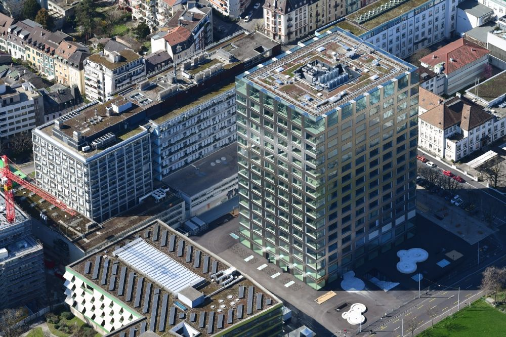 Basel from the bird's eye view: High-rise building and Biocenter of the university Basle in Basle in Switzerland