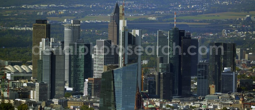 Frankfurt am Main from the bird's eye view: High-rise skyscraper building and bank administration of the financial services company EZB Europaeische Zentralbank in Frankfurt in the state Hesse, Germany