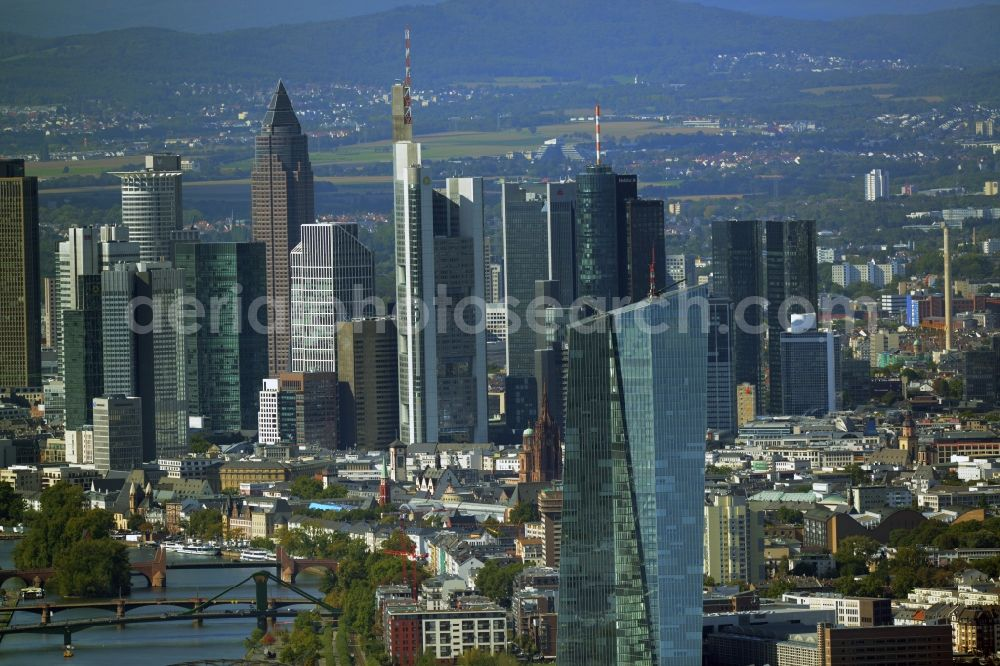 Frankfurt am Main from above - High-rise skyscraper building and bank administration of the financial services company EZB Europaeische Zentralbank in Frankfurt in the state Hesse, Germany