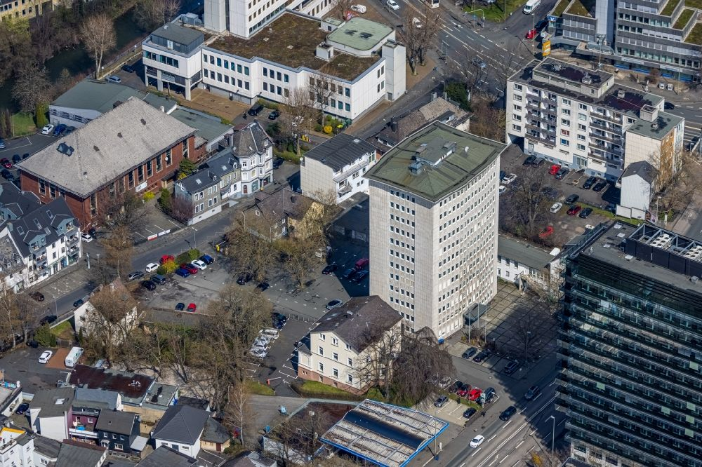 Aerial image Siegen - High-rise building in the residential area on Koblenzer Strasse in the district Hammerhuette in Siegen at Siegerland in the state North Rhine-Westphalia, Germany