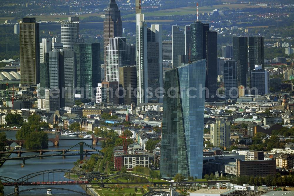 Aerial image Frankfurt am Main - High-rise construction of the twin towers of the ECB's headquarters in the Skyline of Frankfurt / Main in Hesse. The new headquarters of the European Central Bank is a design by the architects of Coop Himmelb (l) au. Further information at: COOP HIMMELB(L)AU Wolf D. Prix / W. Dreibholz & Partner ZT GmbH, EUROPEAN CENTRAL BANK EZB, Ed. Zueblin AG, IGL Ing. Ges. Gemmer & Leber mbH.
