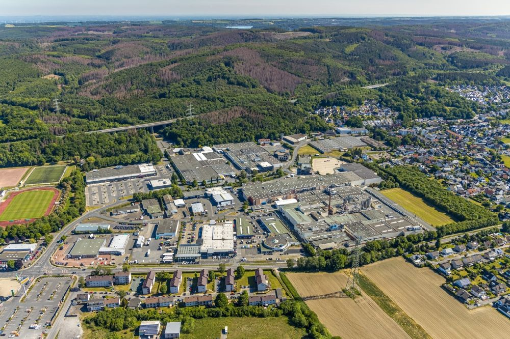 Arnsberg from above - Industrial and commercial area along the Arnsberger Strasse in Arnsberg in the state North Rhine-Westphalia, Germany