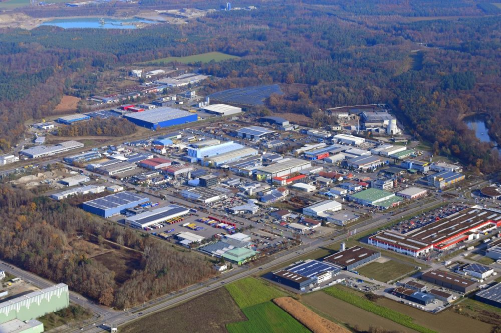 Singen (Hohentwiel) from the bird's eye view: Industrial and commercial area on Georg-Fischer-Strasse in Singen (Hohentwiel) in the state Baden-Wuerttemberg, Germany