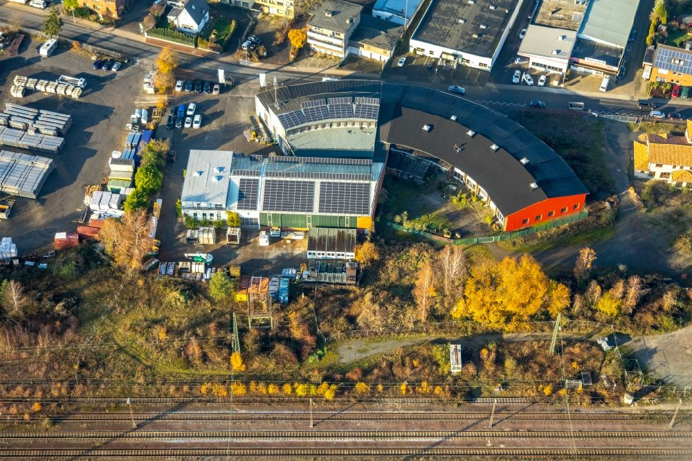 Aerial photograph Haltern am See - Industrial and commercial area in former roundhouse in Haltern am See in the state North Rhine-Westphalia, Germany