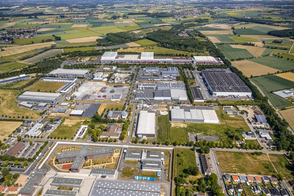 Werl from above - Industrial and commercial area KonWerl Belgische Strasse - Scheidinger Strasse in the district Soennern in Werl in the state North Rhine-Westphalia, Germany
