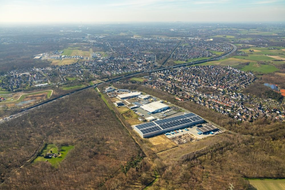 Castrop-Rauxel from the bird's eye view: Industrial and commercial area on Rapensweg in the district Ickern in Castrop-Rauxel in the state North Rhine-Westphalia, Germany