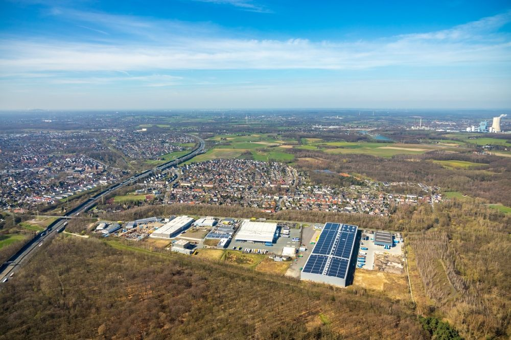 Castrop-Rauxel from above - Industrial and commercial area on Rapensweg in the district Ickern in Castrop-Rauxel in the state North Rhine-Westphalia, Germany
