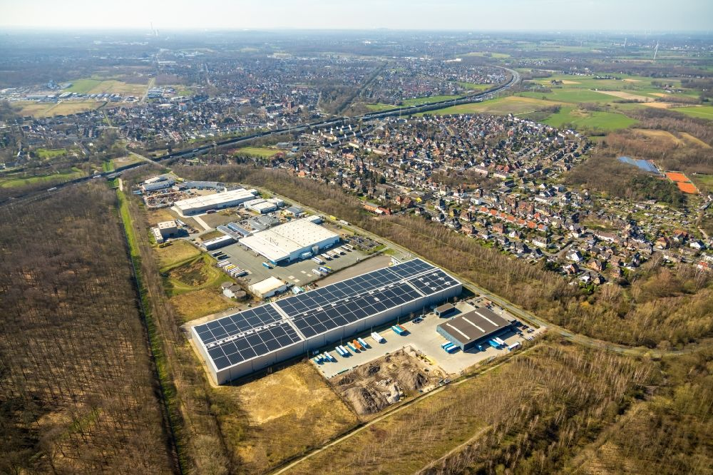 Aerial photograph Castrop-Rauxel - Industrial and commercial area on Rapensweg in the district Ickern in Castrop-Rauxel in the state North Rhine-Westphalia, Germany