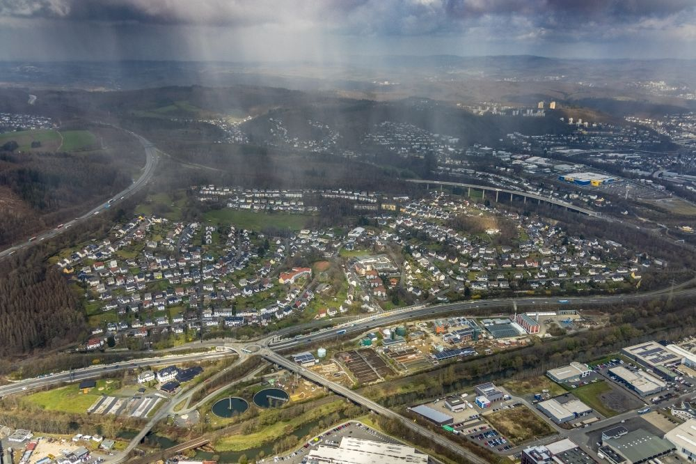 Aerial image Siegen - Cityscape of the district in the district Alte Dreisbach in Siegen at Siegerland in the state North Rhine-Westphalia, Germany