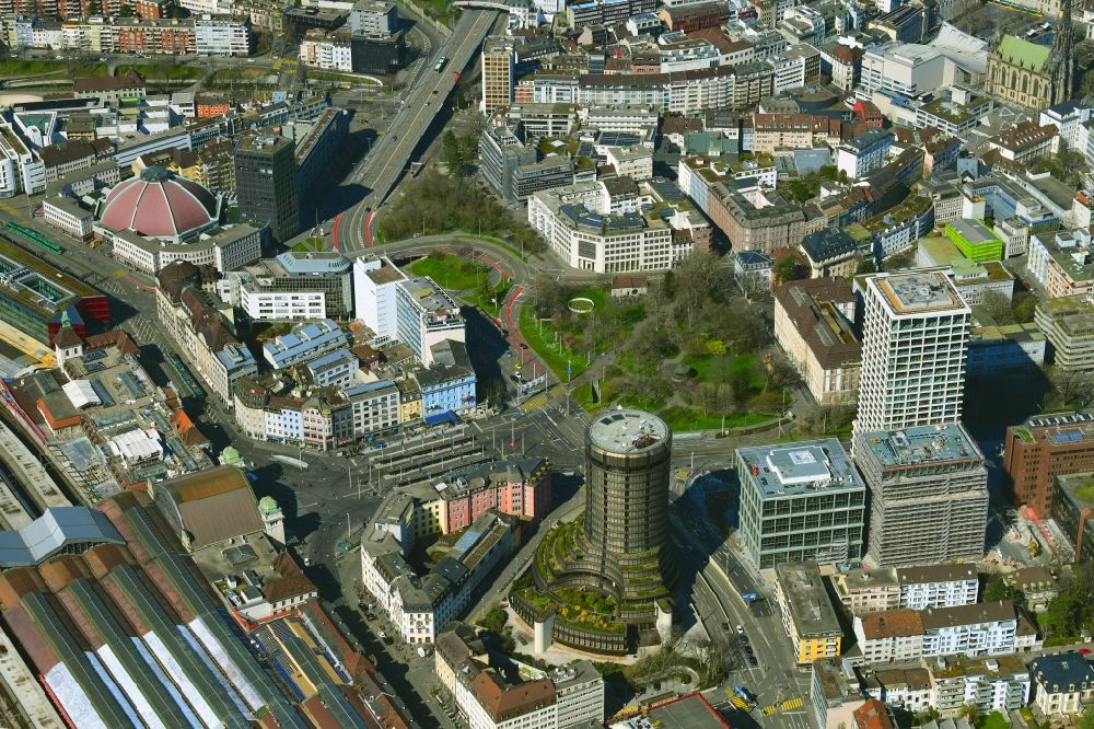 Aerial image Basel - Town view at the main station Basle SBB in the district Gundeldingen in Bale, Switzerland