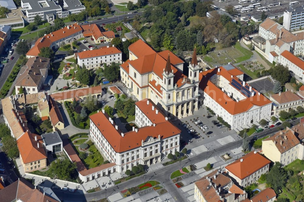 Szombathely from above - Church building of the cathedral of Mariae Heimsuchung in Szombathely in Vas, Hungary