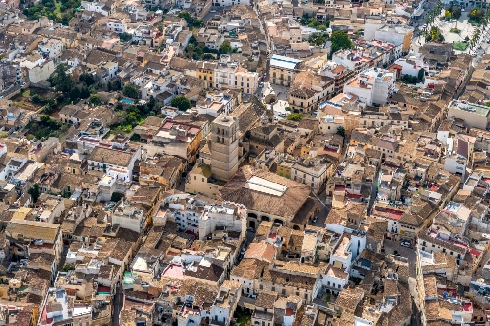 Aerial image Felanitx - Church building in ParrA?quia de Sant Miquel Old Town- center of downtown in Felanitx in Balearische Insel Mallorca, Spain