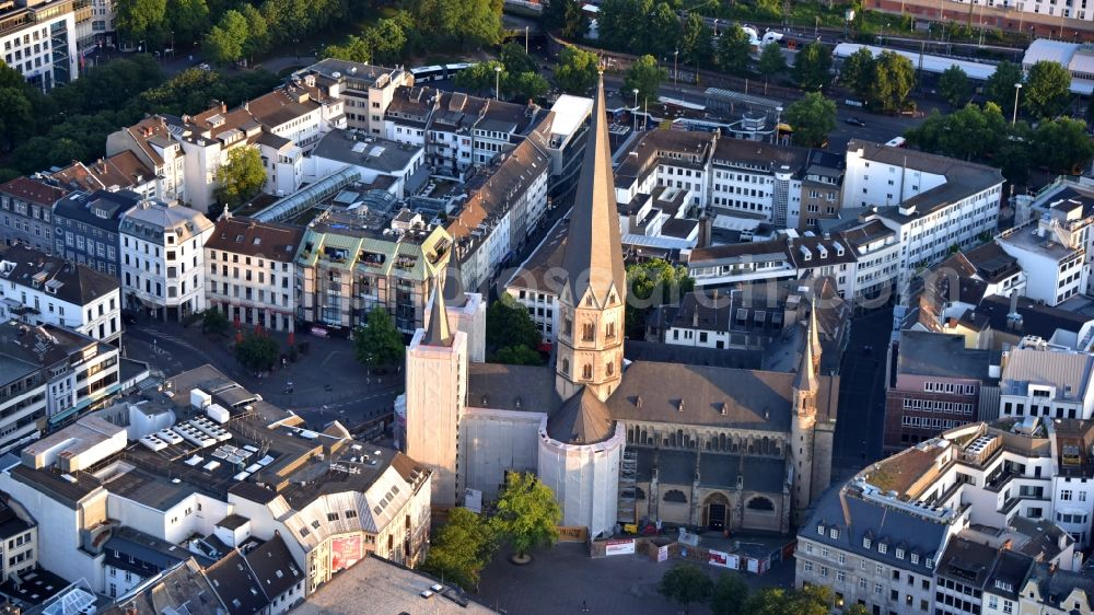 Bonn from above - Church building of the cathedral of Bonner Muenster on Muensterplatz in Bonn in the state North Rhine-Westphalia, Germany