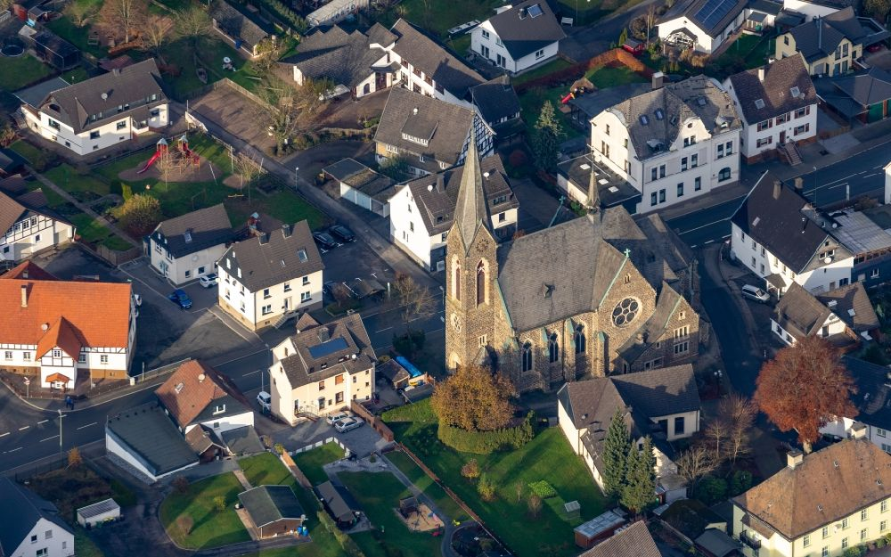 Finnentrop from above - Church building of the Kirche St. Anna Lenhausen on Westfalenstrasse in the district Lenhausen in Finnentrop in the state North Rhine-Westphalia, Germany.