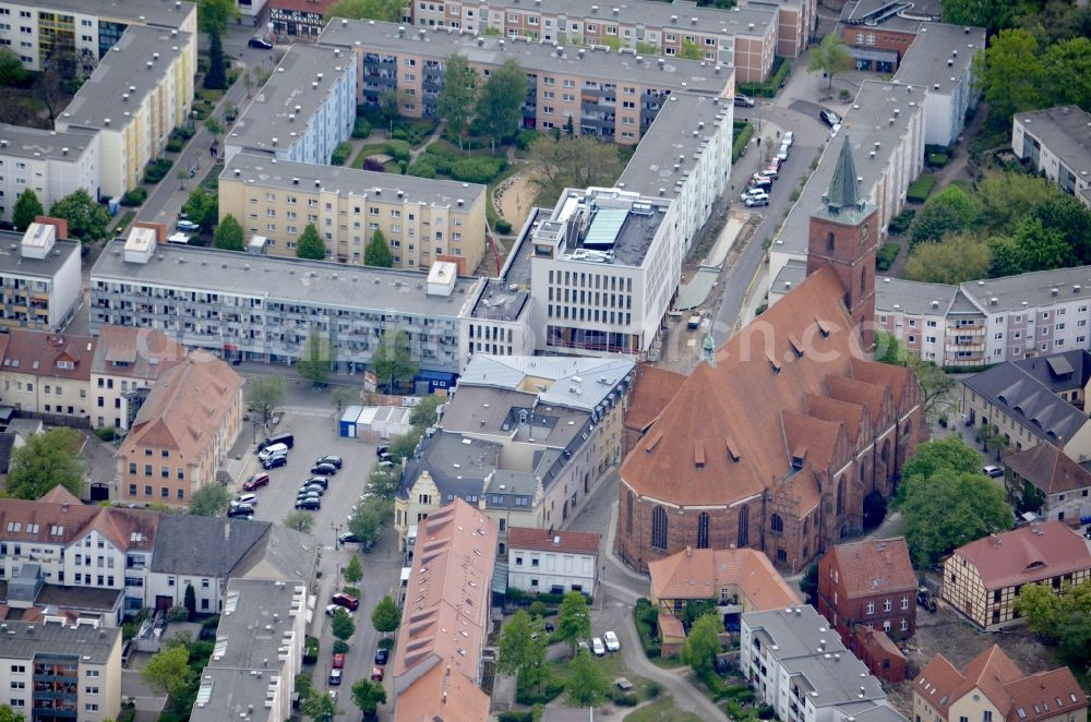 Bernau from above - Church building in St. Marien on Kirchgasse in Old Town- center of downtown in Bernau in the state Brandenburg, Germany