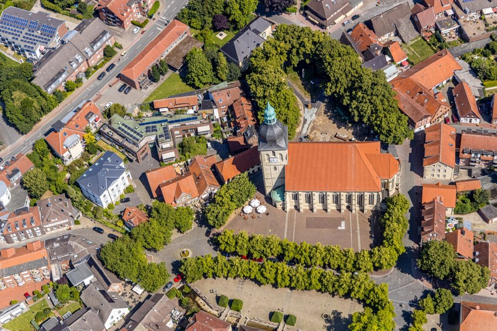 Aerial image Nottuln - Church building in am Stiftplatz Old Town- center of downtown in Nottuln in the state North Rhine-Westphalia