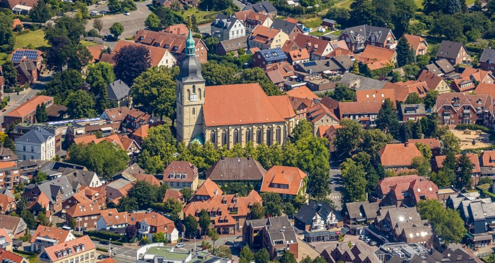 Nottuln from above - Church building in am Stiftplatz Old Town- center of downtown in Nottuln in the state North Rhine-Westphalia