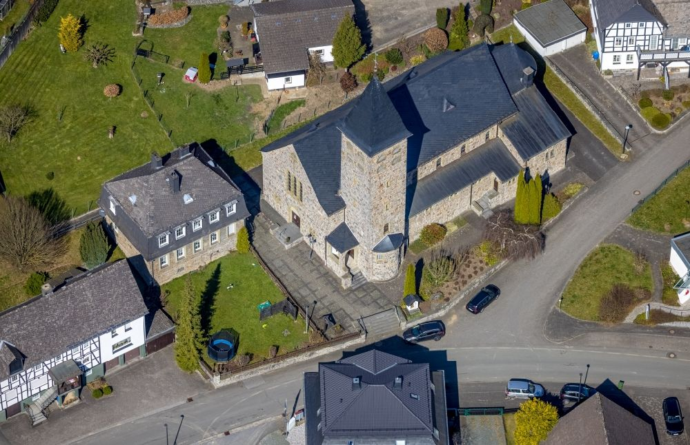 Aerial image Antfeld - Church building St.Marien Kirche in Antfeld at Sauerland in the state North Rhine-Westphalia, Germany