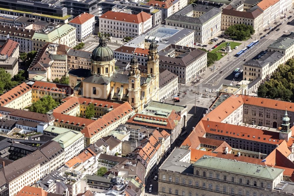 München from above - Church building of the Theatinerkirche on Odeonsplatz in the district Altstadt in Munich in the state Bavaria, Germany