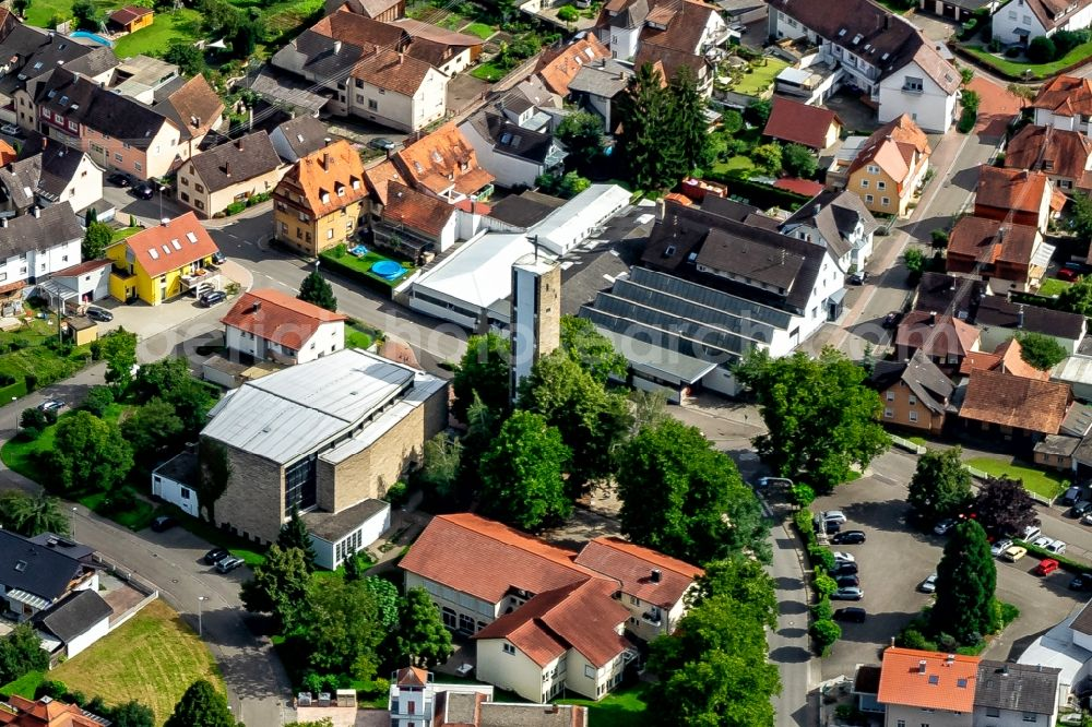Kippenheim from above - Church building in the village of in Kippenheim in the state Baden-Wurttemberg, Germany