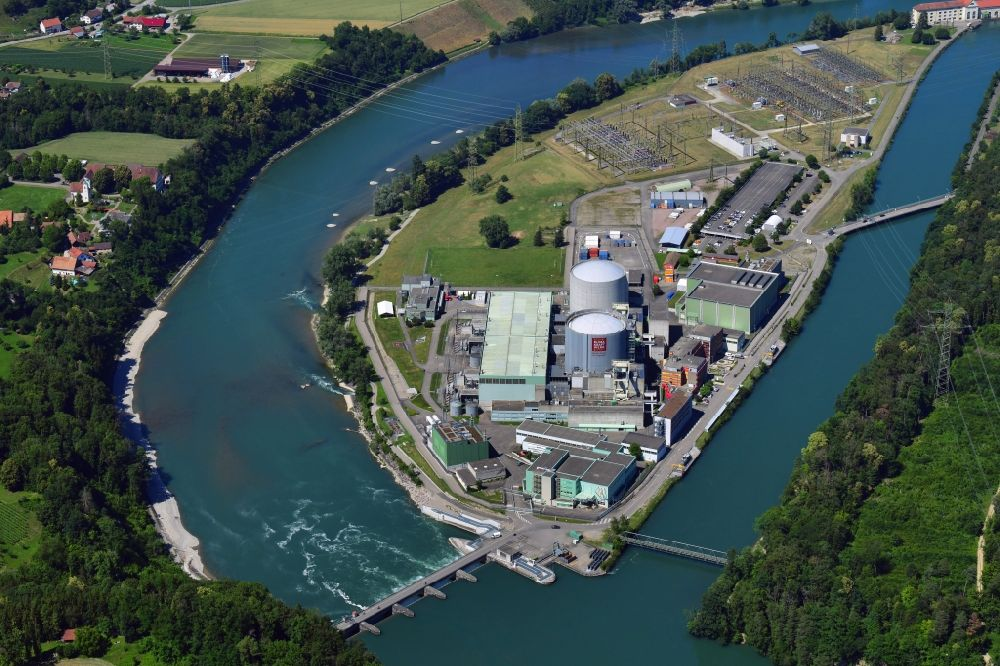 Beznau from above - Building remains of the reactor units and facilities of the NPP nuclear power plant on river of Aare in Beznau in the canton Aargau, Switzerland
