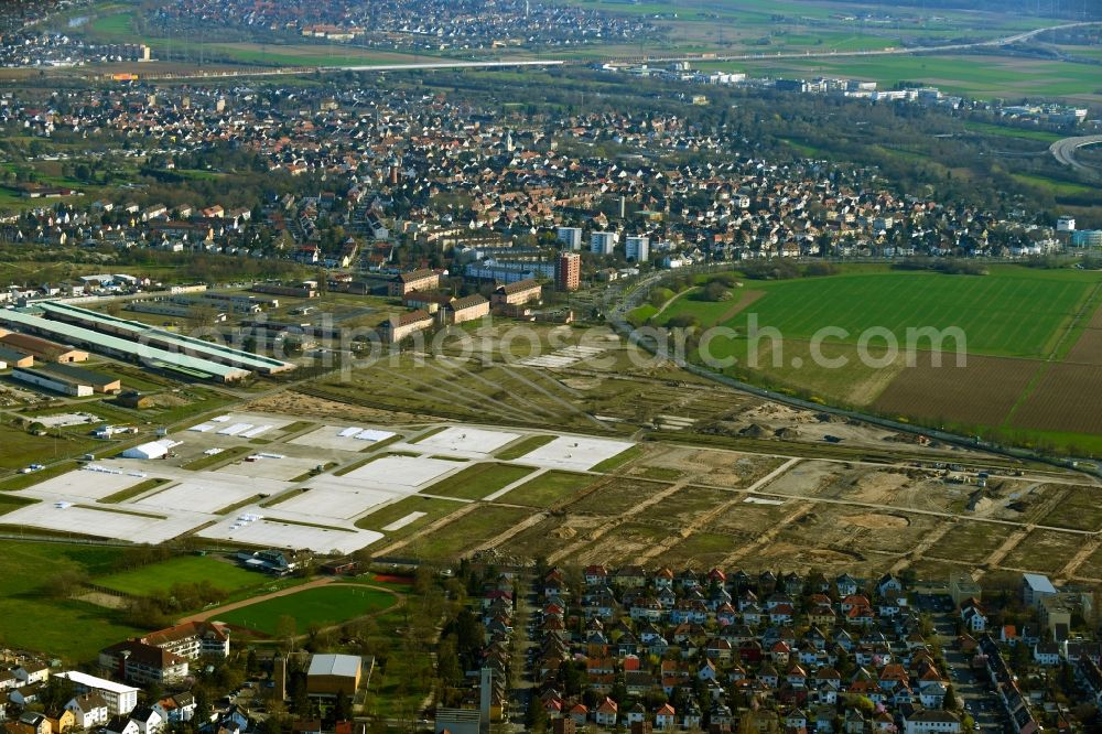 Aerial image Mannheim - Construction site for the dismantling and conversion of the former military Spinelli barracks in the district of Kaefertal in Mannheim in the state Baden-Wurttemberg, Germany
