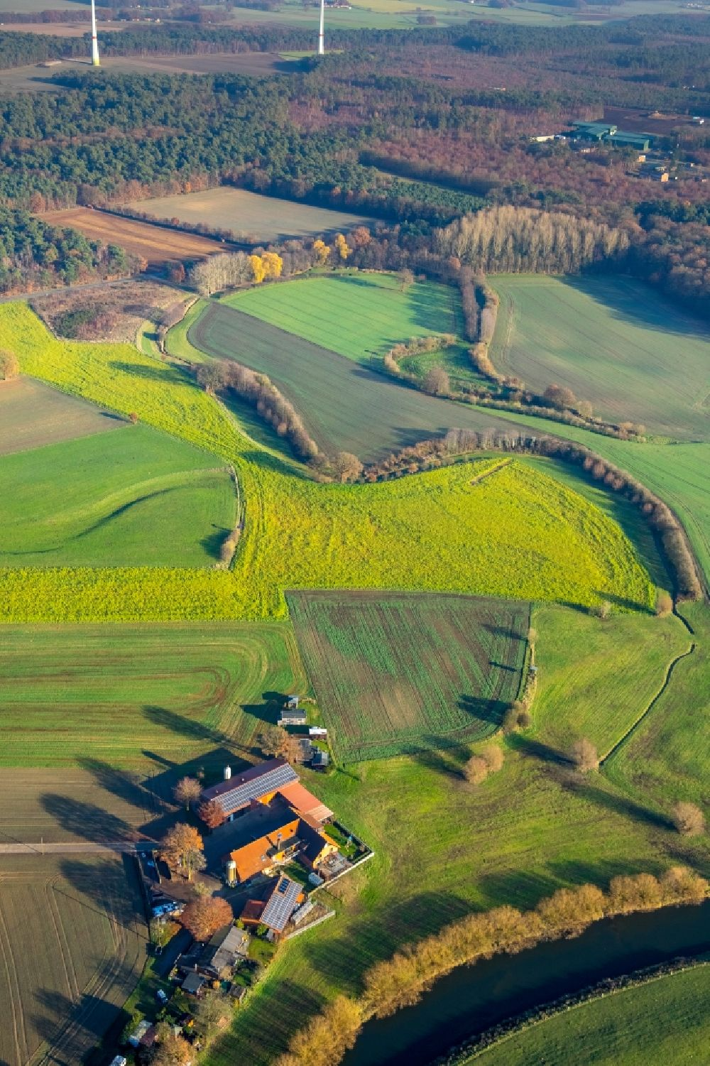 Haltern am See from the bird's eye view: Grassland structures of a meadow and field landscape in the lowland on river shore of Lippe in Haltern am See in the state North Rhine-Westphalia, Germany