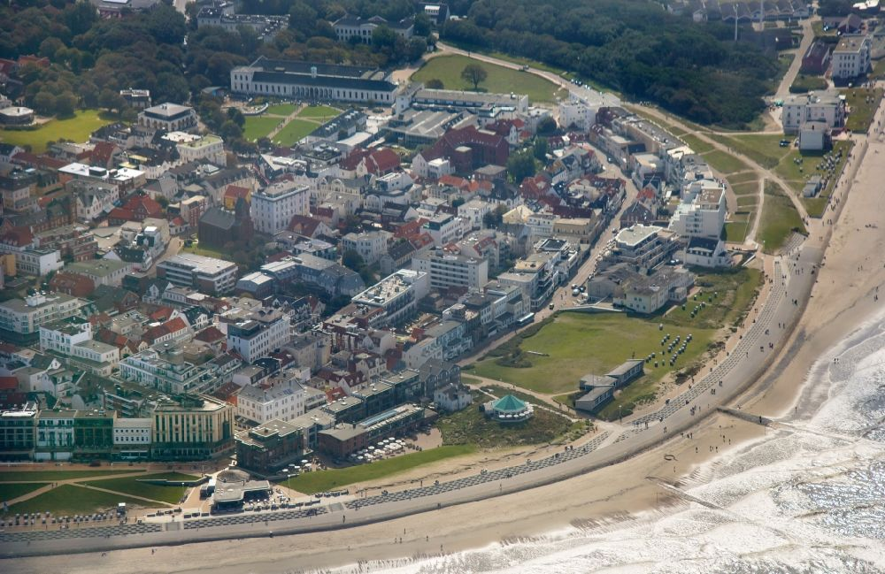 Aerial image Norderney - Coastline on the sandy beach of North Sea island in Norderney in the state Lower Saxony, Germany