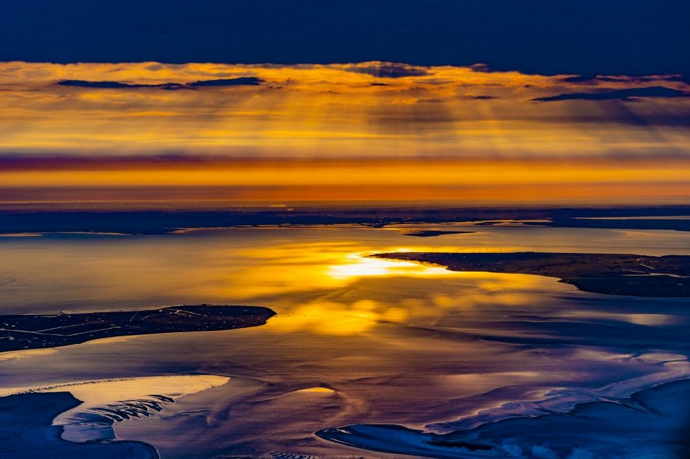 Aerial image Hallig Hooge - Coastal area of Hallig Hooge and the North sea Pellworm island at sunrise in North Frisia in the state Schleswig-Holstein, Germany